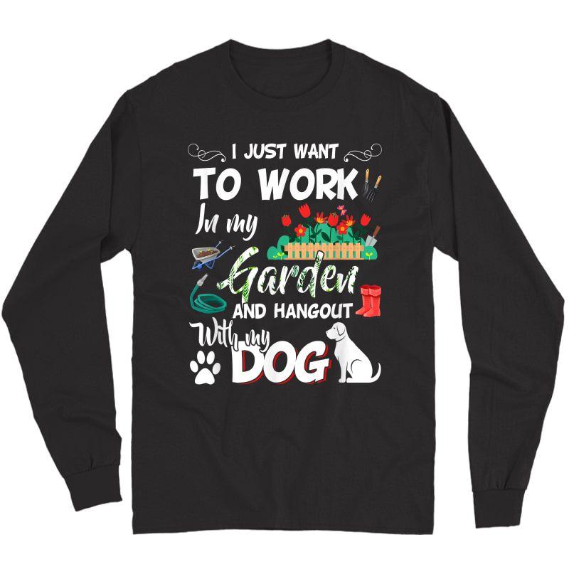 Gardening T-shirt Dog Lover Gardener Garden Pet Gift Plants T-shirt Long Sleeve T-shirt