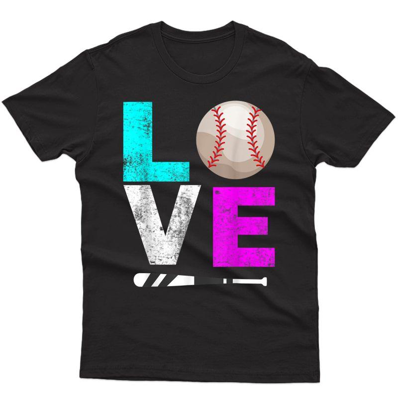 Girls Love Softball Shirt Mom Distressed Ball Gift Tee