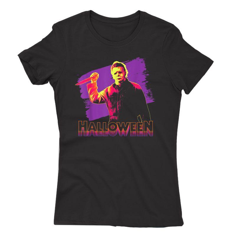 Halloween Michael Myers Neon Portrait T-shirt