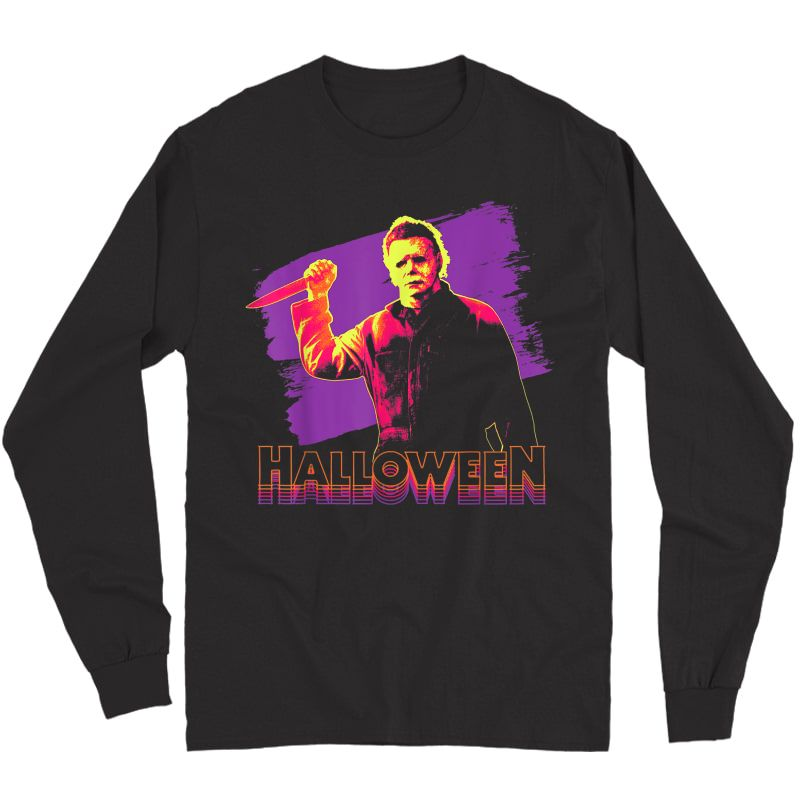 Halloween Michael Myers Neon Portrait T-shirt Long Sleeve T-shirt