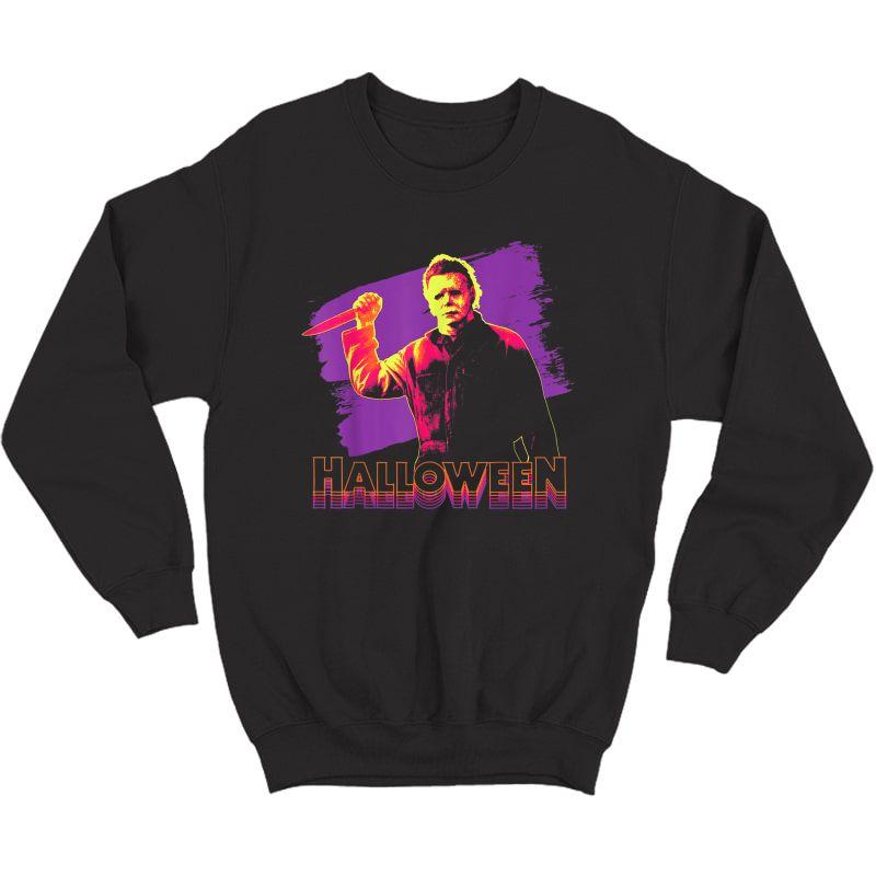 Halloween Michael Myers Neon Portrait T-shirt Crewneck Sweater