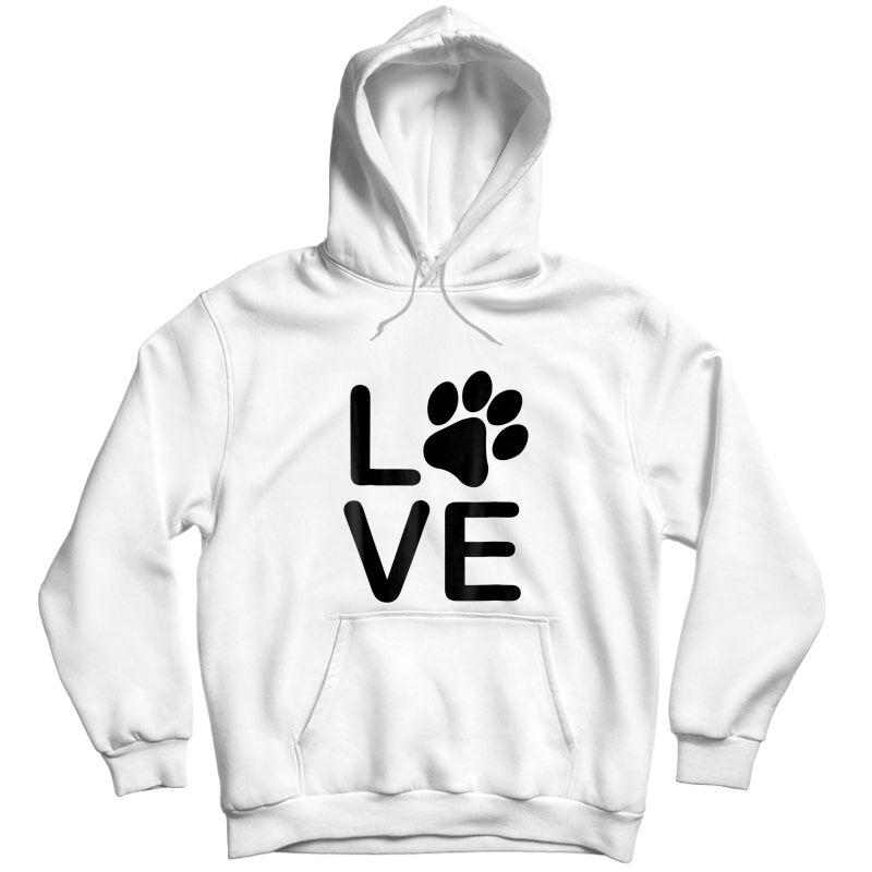 I Love My Dog Tshirt - Girls Guys Paw Print T-shirts. Unisex Pullover Hoodie