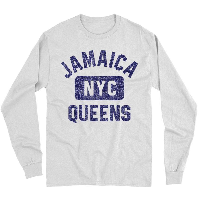 Nyc Gym Style Distressed Navy Blue Print T-shirt Long Sleeve T-shirt