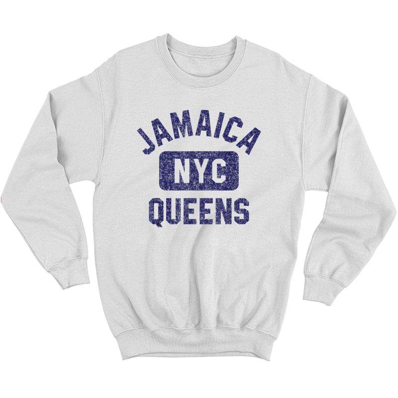 Nyc Gym Style Distressed Navy Blue Print T-shirt Crewneck Sweater