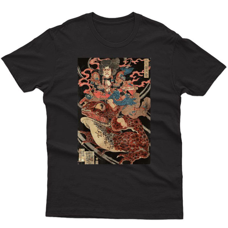 Japanese Retro Artwork Samurai Riding Giant Toad Vintage Art T-shirt