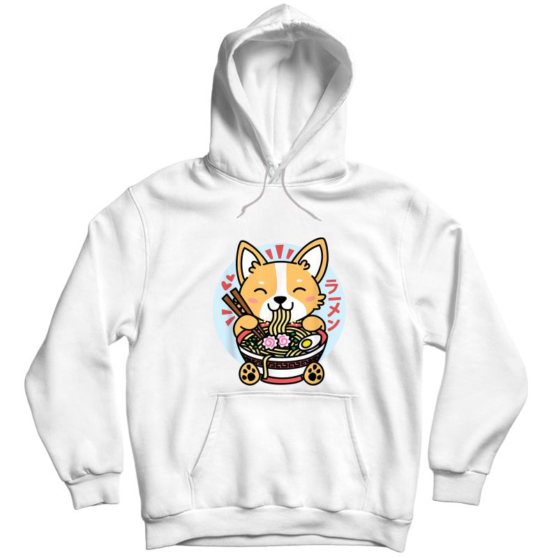 Kawaii Ra Cute Anime Dog Corgi Japanese Noodles T-shirt Unisex Pullover Hoodie