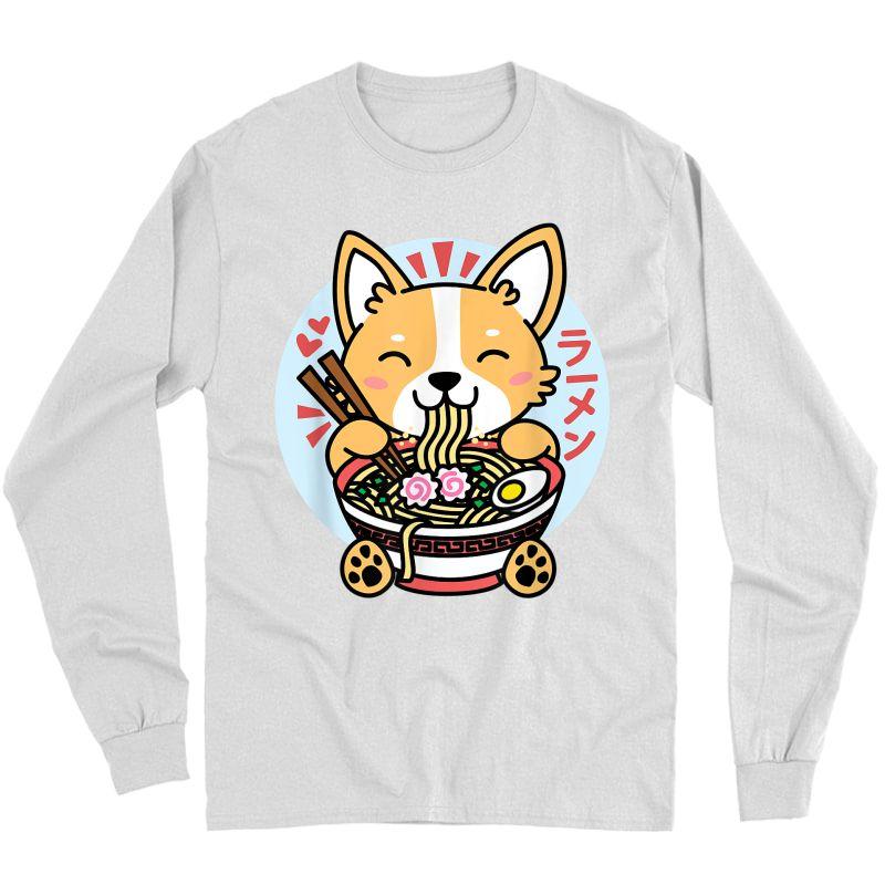 Kawaii Ra Cute Anime Dog Corgi Japanese Noodles T-shirt Long Sleeve T-shirt