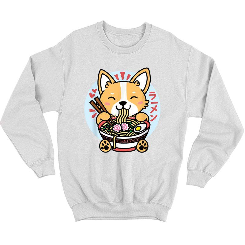 Kawaii Ra Cute Anime Dog Corgi Japanese Noodles T-shirt Crewneck Sweater
