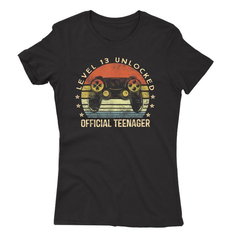 Level 13 Unlocked Teenager 13th Birthday Gamer T-shirt