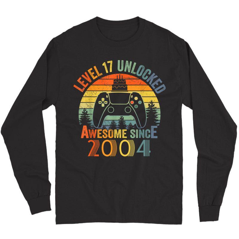 Level 17 Unlocked Video Gamer 17 Years Old 17 Birthday Gifts T-shirt Long Sleeve T-shirt