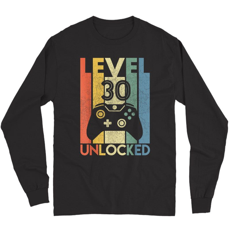 Level 30 Unlocked Shirt Funny Video Gamer 30th Birthday Gift T-shirt Long Sleeve T-shirt