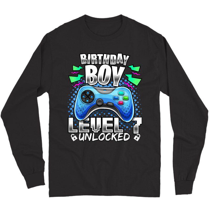 Level 7 Unlocked Video Game 7th Birthday Gamer Gift T-shirt Long Sleeve T-shirt