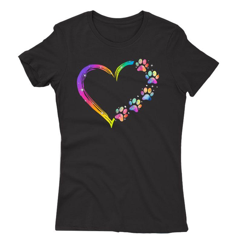 Lgbt Heart Rainbow Dog Paw Lgbt Pride Lgbt Supporter T-shirt