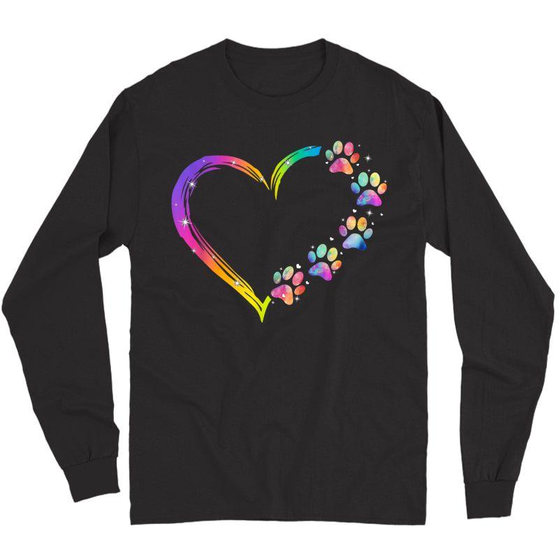 Lgbt Heart Rainbow Dog Paw Lgbt Pride Lgbt Supporter T-shirt Long Sleeve T-shirt