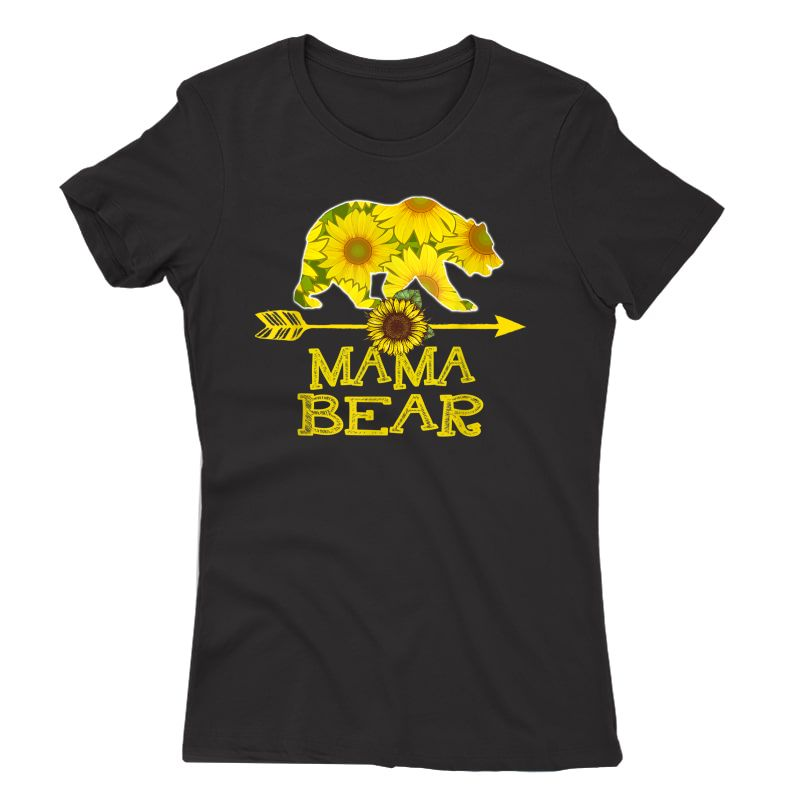 Mama Bear T-shirt Funny Sunflower Mother Father Gifts T-shirt