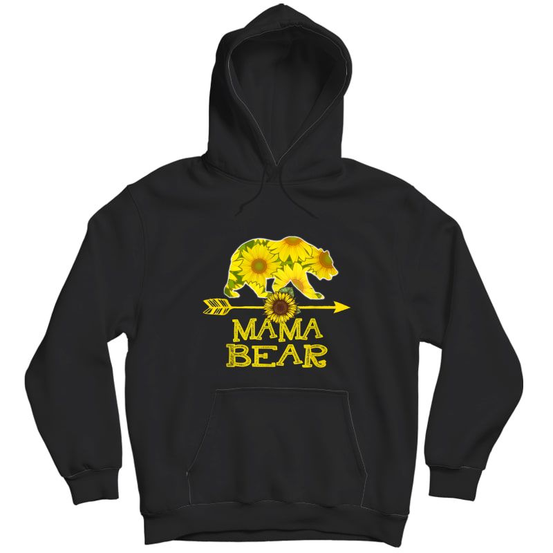 Mama Bear T-shirt Funny Sunflower Mother Father Gifts T-shirt Unisex Pullover Hoodie