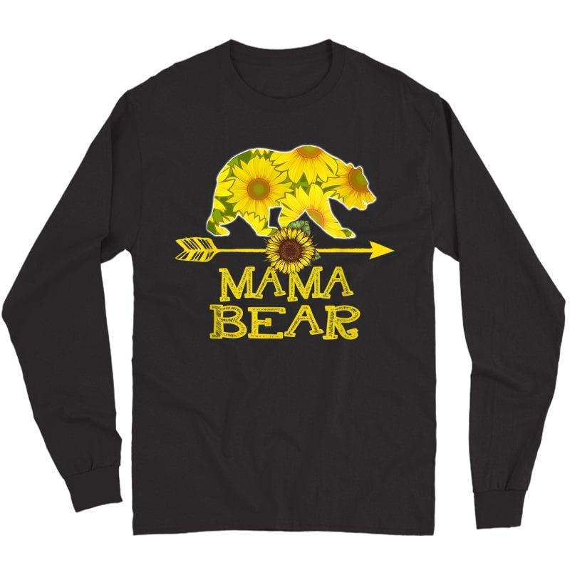 Mama Bear T-shirt Funny Sunflower Mother Father Gifts T-shirt Long Sleeve T-shirt