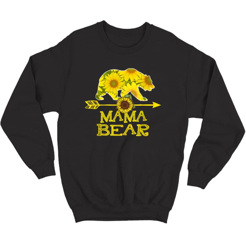 Mama Bear T-shirt Funny Sunflower Mother Father Gifts T-shirt Crewneck Sweater