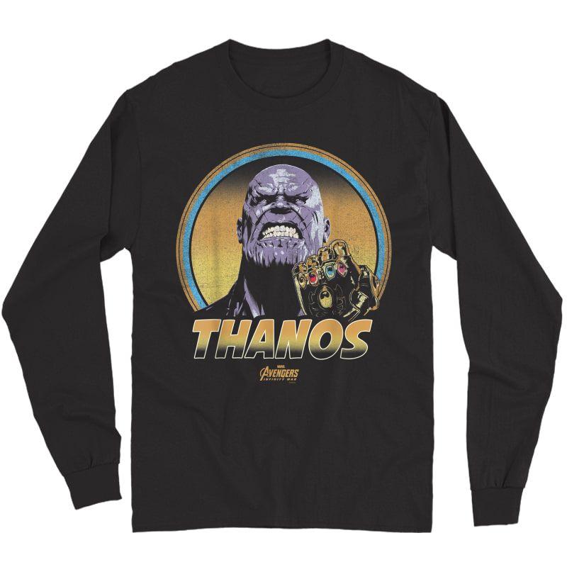 Marvel Infinity War Thanos Vintage Portrait Graphic T-shirt Long Sleeve T-shirt