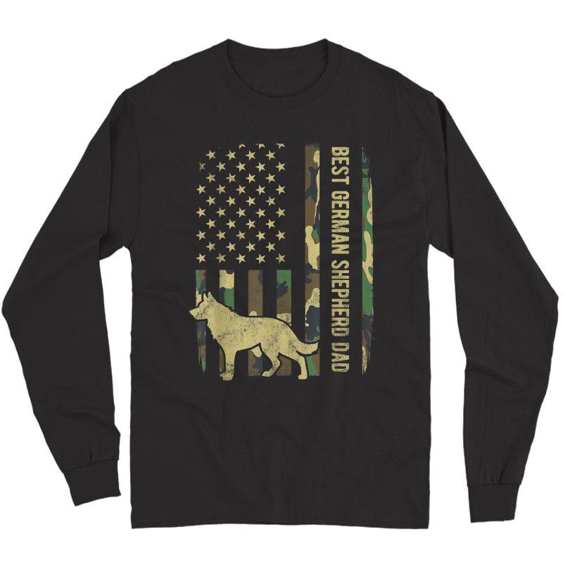 S Best German Shepherd Dog Dad Camouflage American Flag T-shirt Long Sleeve T-shirt
