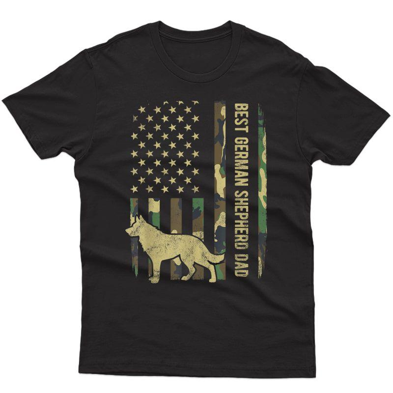 S Best German Shepherd Dog Dad Camouflage American Flag T-shirt