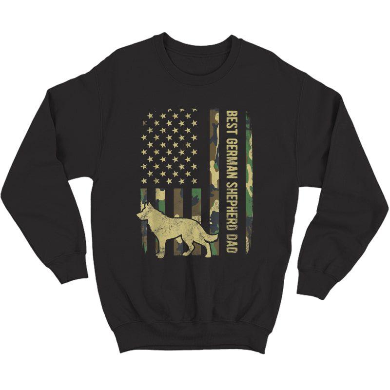 S Best German Shepherd Dog Dad Camouflage American Flag T-shirt Crewneck Sweater
