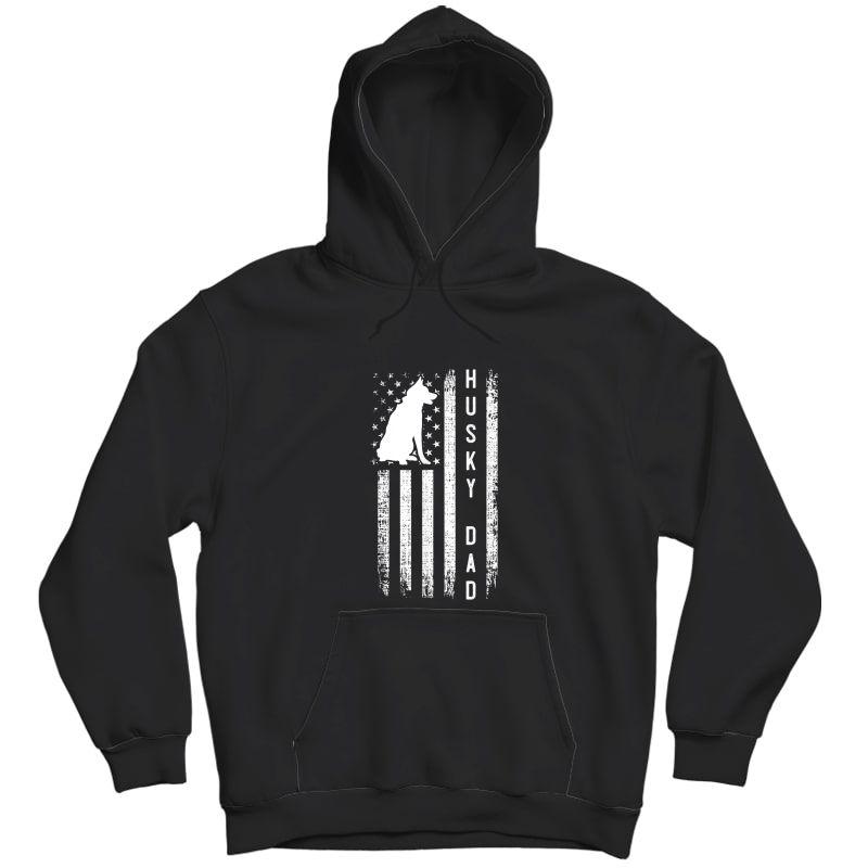 S Husky Lover Gift Siberian Husky Dad American Flag Dog Lover T-shirt Unisex Pullover Hoodie