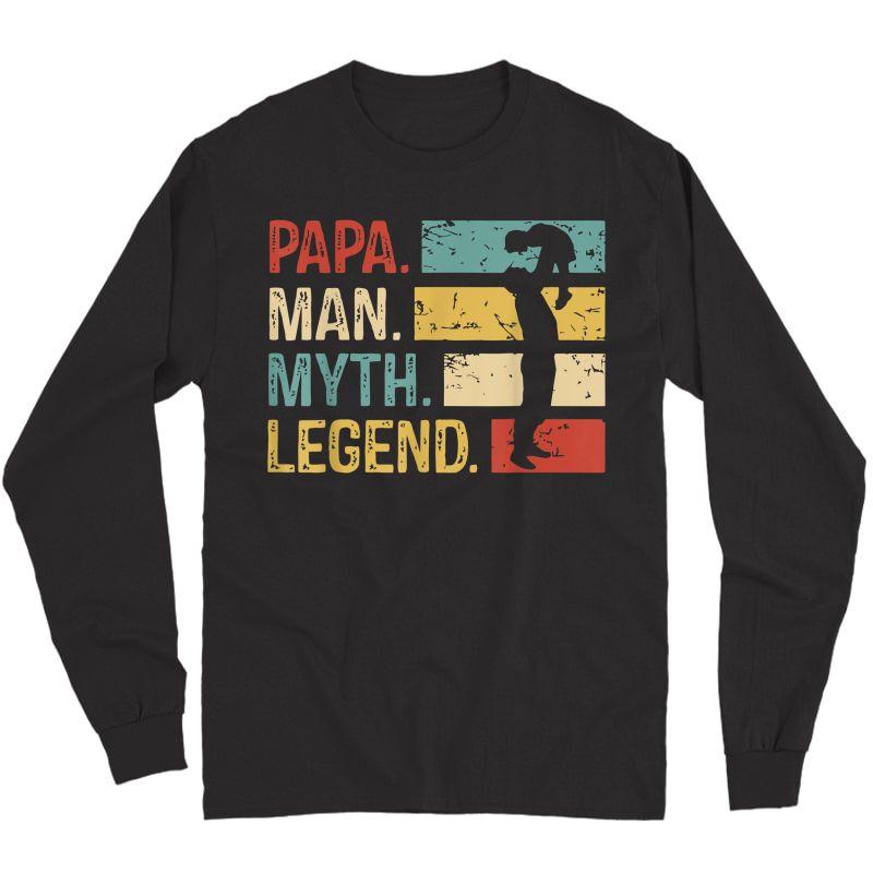 S Papa Man Myth Legend Shirts Vintage Dad Gift T-shirt T-shirt Long Sleeve T-shirt