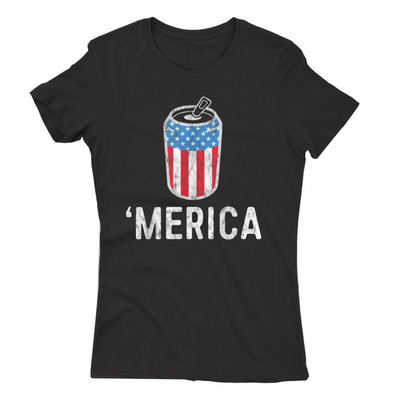 Merica Tank July Of 4th Beer Drinking Shirt America T-shirt