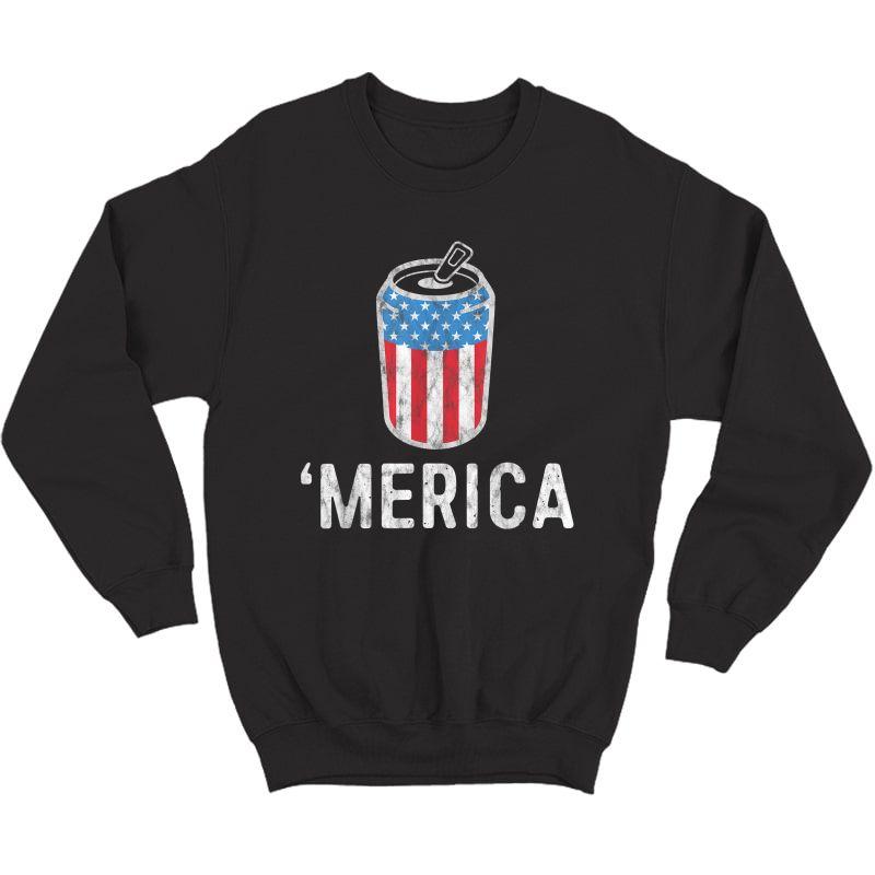 Merica Tank July Of 4th Beer Drinking Shirt America T-shirt Crewneck Sweater