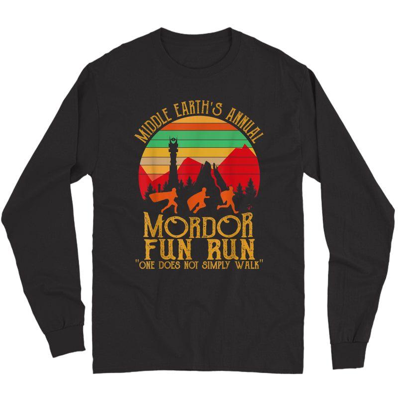 Mordor Fun Run One Does Not Simply Walk Vintage Retro T-shirt Long Sleeve T-shirt