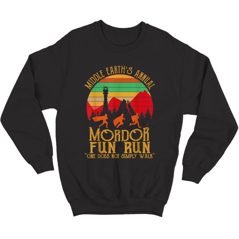 Mordor Fun Run One Does Not Simply Walk Vintage Retro T-shirt Crewneck Sweater