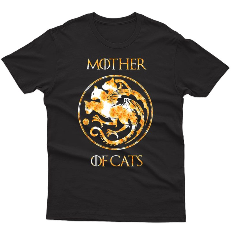 Mother Of Cats Shirt With Floral Art Best Mom Gift T-shirt