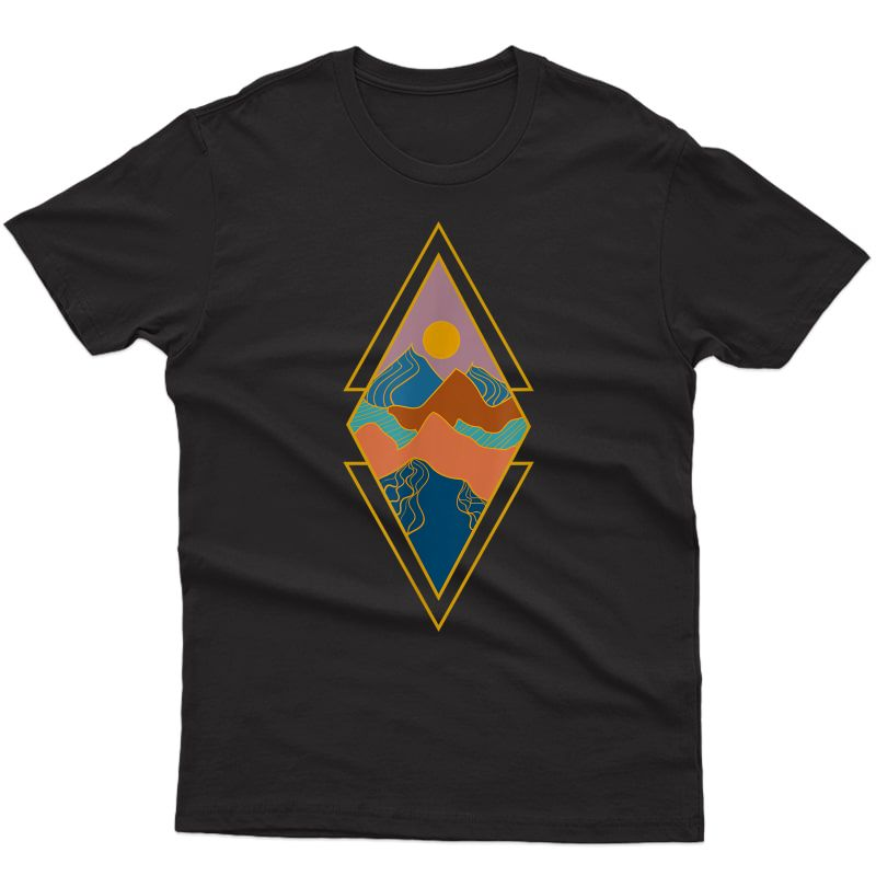 Mountain Geometric Sunset Hiking Minimal Abstract Art T-shirt