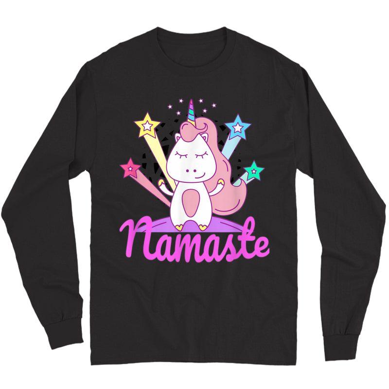 Namaste Unicorn Tee For - Girls Yoga T-shirt Long Sleeve T-shirt
