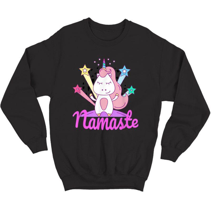 Namaste Unicorn Tee For - Girls Yoga T-shirt Crewneck Sweater
