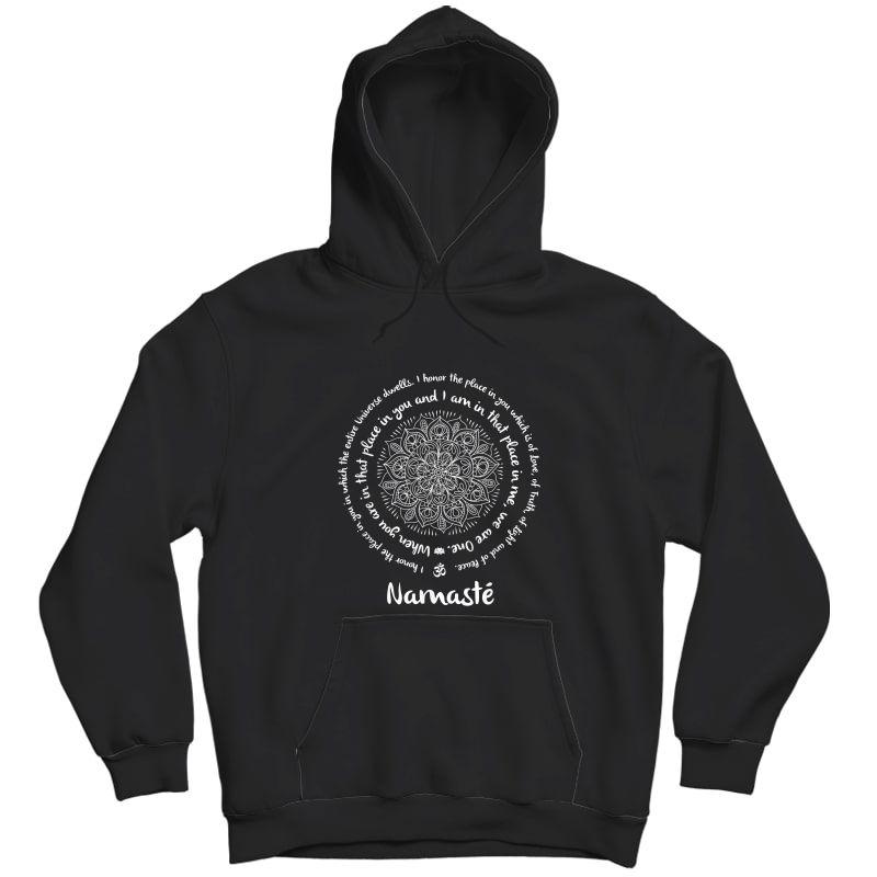Namaste We Are One Meditation Sayings Mandala Yoga Tea T-shirt Unisex Pullover Hoodie