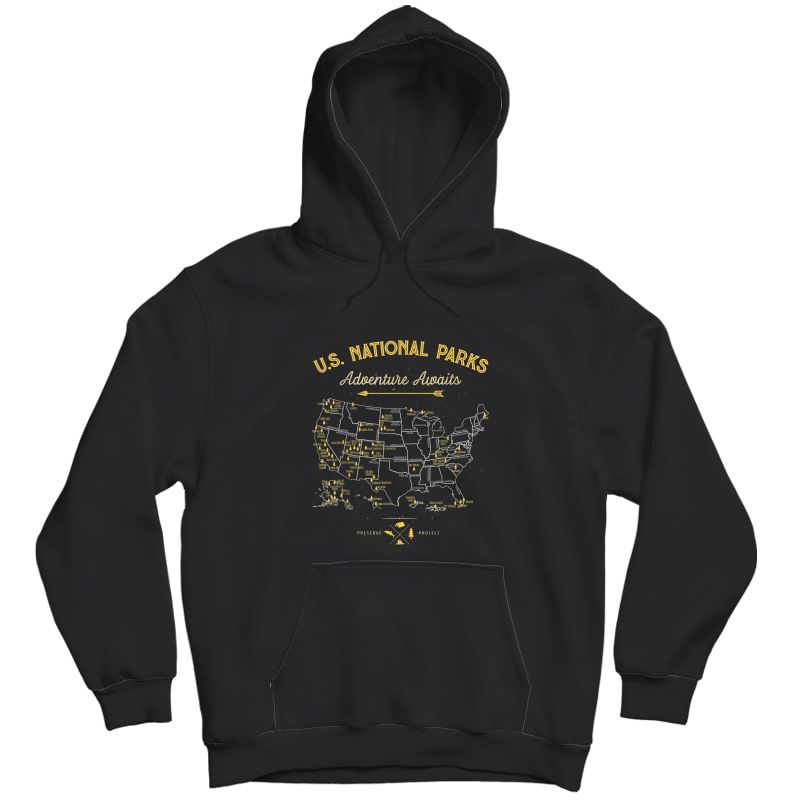 National Parks T Shirt Map Camping Tshirt Hiking T-shirt Unisex Pullover Hoodie