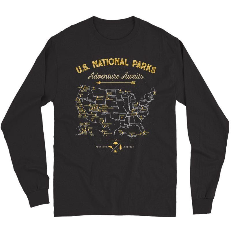 National Parks T Shirt Map Camping Tshirt Hiking T-shirt Long Sleeve T-shirt