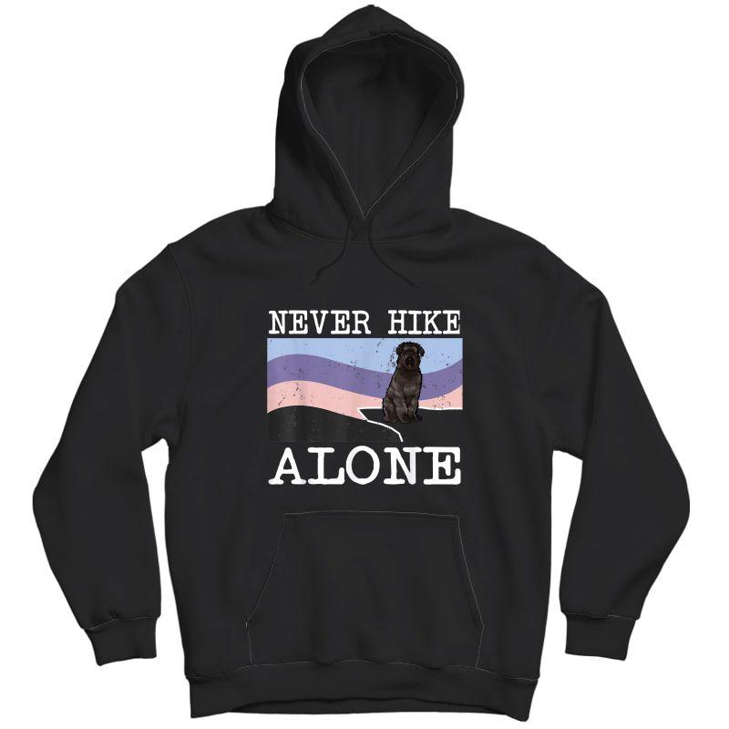 Never Hike Alone Bouvier Des Flandres Dog Hiking T-shirt Unisex Pullover Hoodie