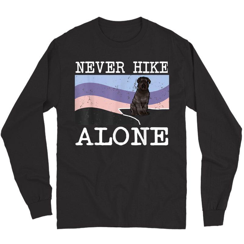 Never Hike Alone Bouvier Des Flandres Dog Hiking T-shirt Long Sleeve T-shirt