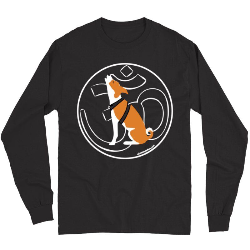 Om Yoga Dog Graphic T Shirt - Chanting Basenji - Long Sleeve T-shirt