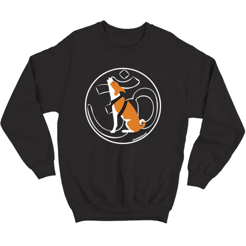 Om Yoga Dog Graphic T Shirt - Chanting Basenji - Crewneck Sweater