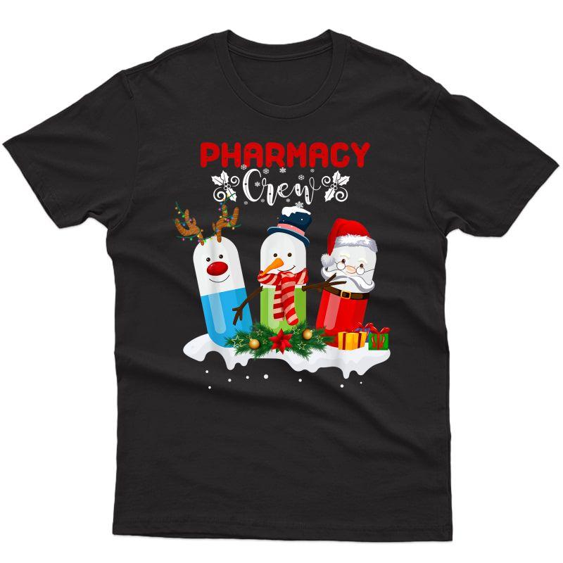 Pharmacy Crew Christmas Pills Snowman Reindeer Santa Claus T-shirt
