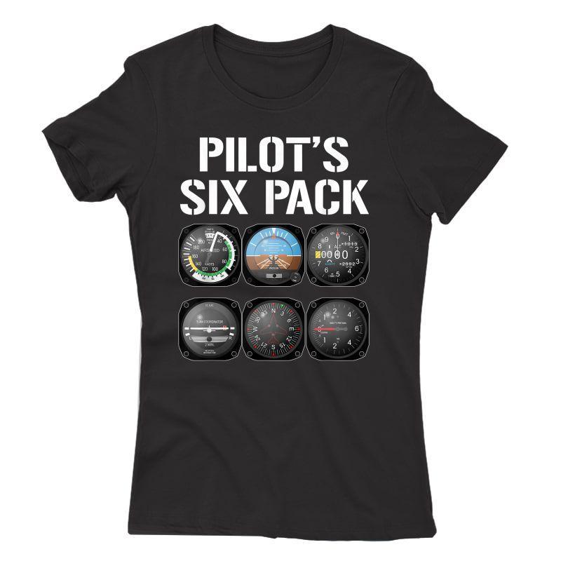 Pilot's Six Pack T-shirt Funny Pilot Aviation Flying Gift