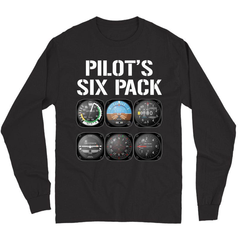 Pilot's Six Pack T-shirt Funny Pilot Aviation Flying Gift Long Sleeve T-shirt