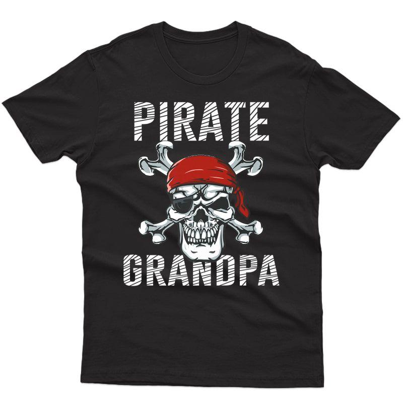Pirate Grandpa Shirt | Skull Crossbones Flag Halloween Tee