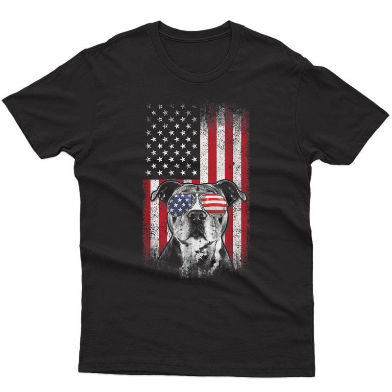 Pitbull American Flag 4th Of July Pitbull Dad Mom Dog Lover T-shirt