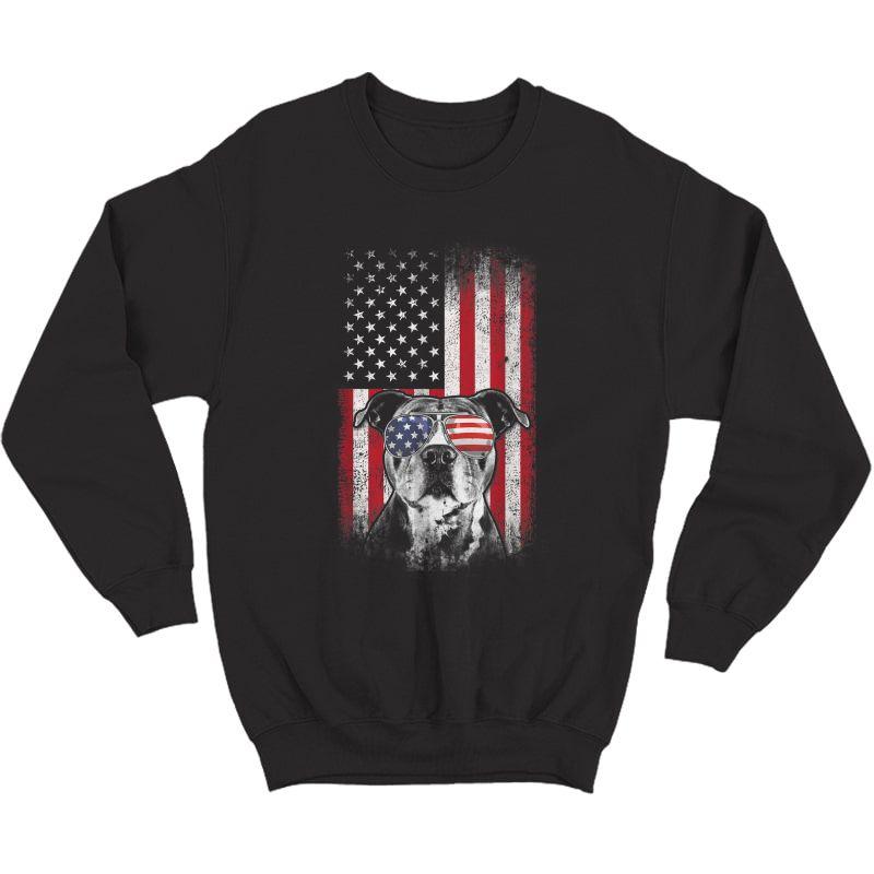 Pitbull American Flag 4th Of July Pitbull Dad Mom Dog Lover T-shirt Crewneck Sweater