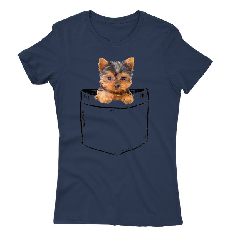 Pocket Baby Yorkie Dog Love-r Dad Mom, Boy Girl Funny T-shirt